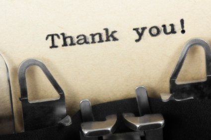 picture of Thank You on a typewriter