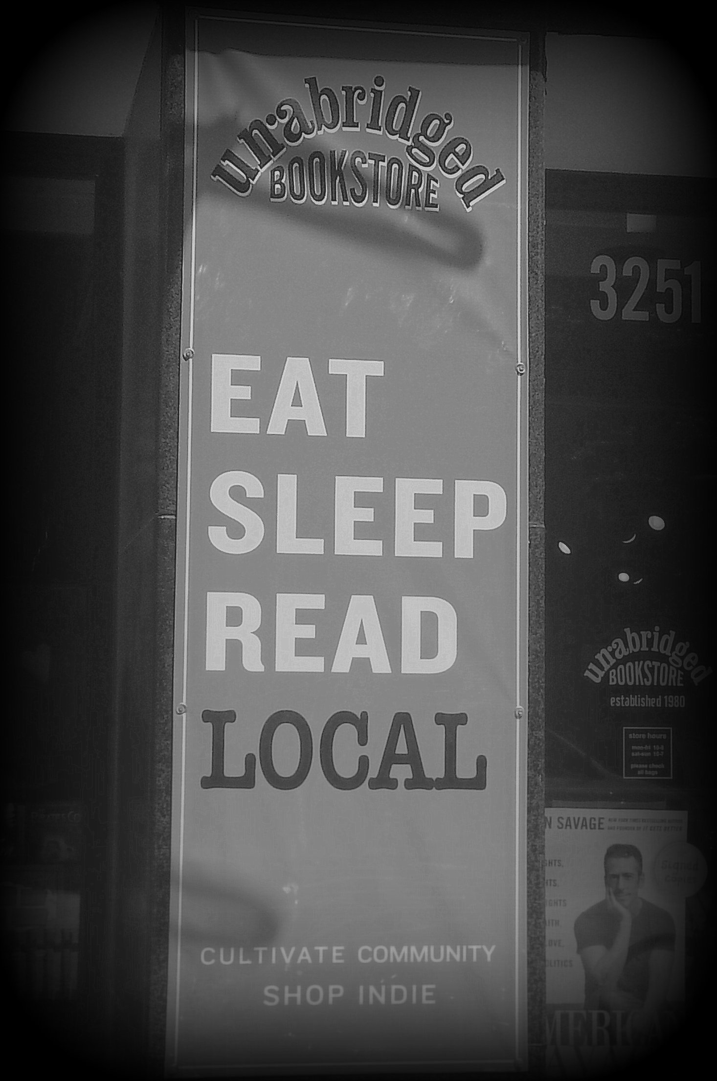 Indie bookstore- sign in window
