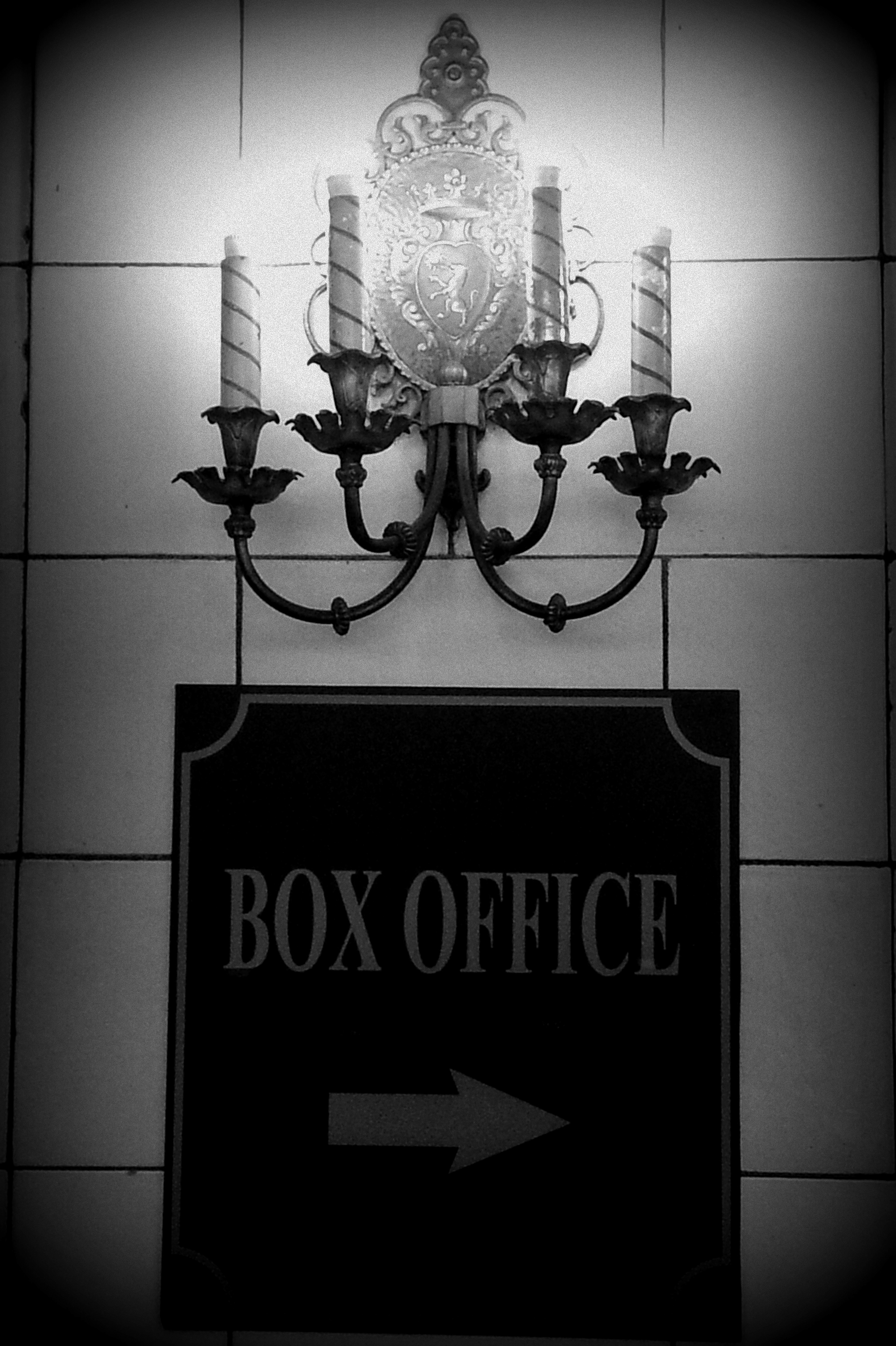 Box Office Black and White Sign