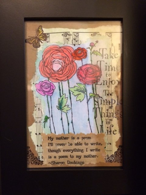 flowers and quote on music notes - mixed media art