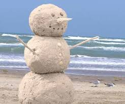 Florida Snowman built out of sand