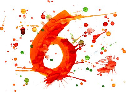 number six in paint spatters