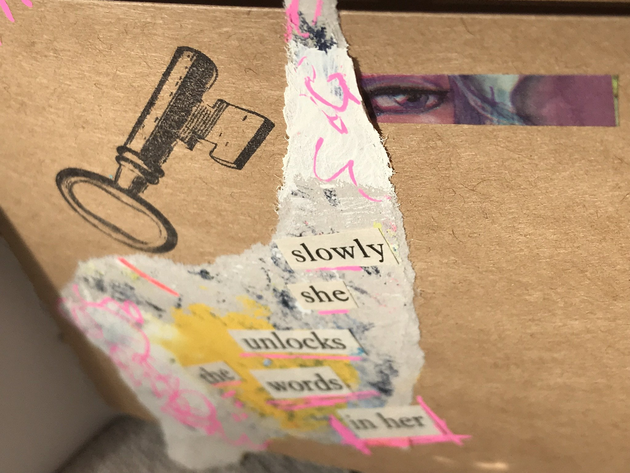 scrap art paper with found words added