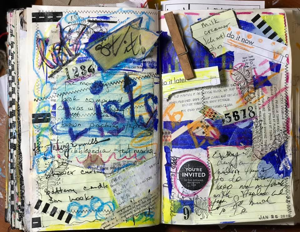 open-face page spread of an altered book journal made by RobinLK Studios, filled with lists, mark-making, ephemera, and doodles reminding us to just write