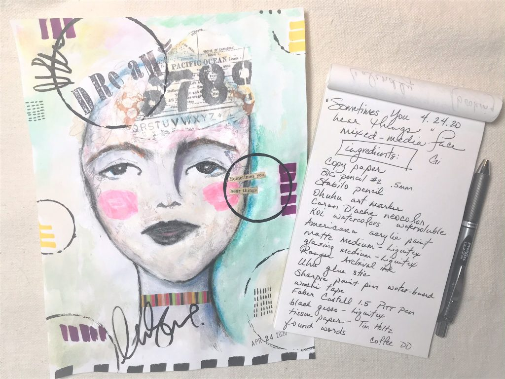 a mixed media woman's face on a table with a list of ingredients used to make the face