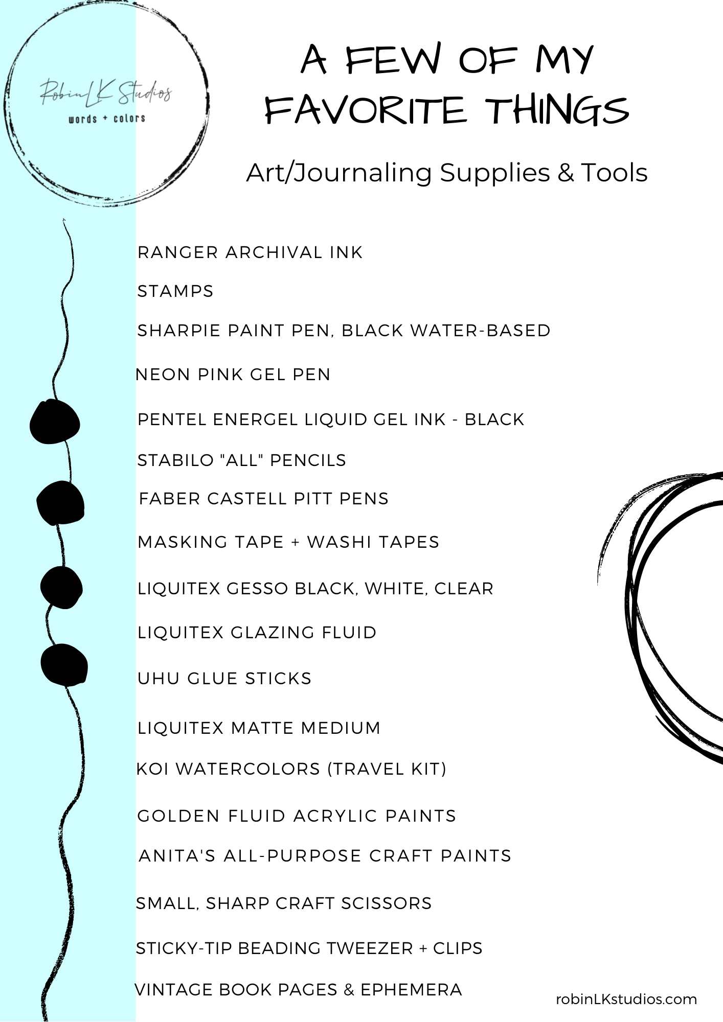 a list of art supplies and tools