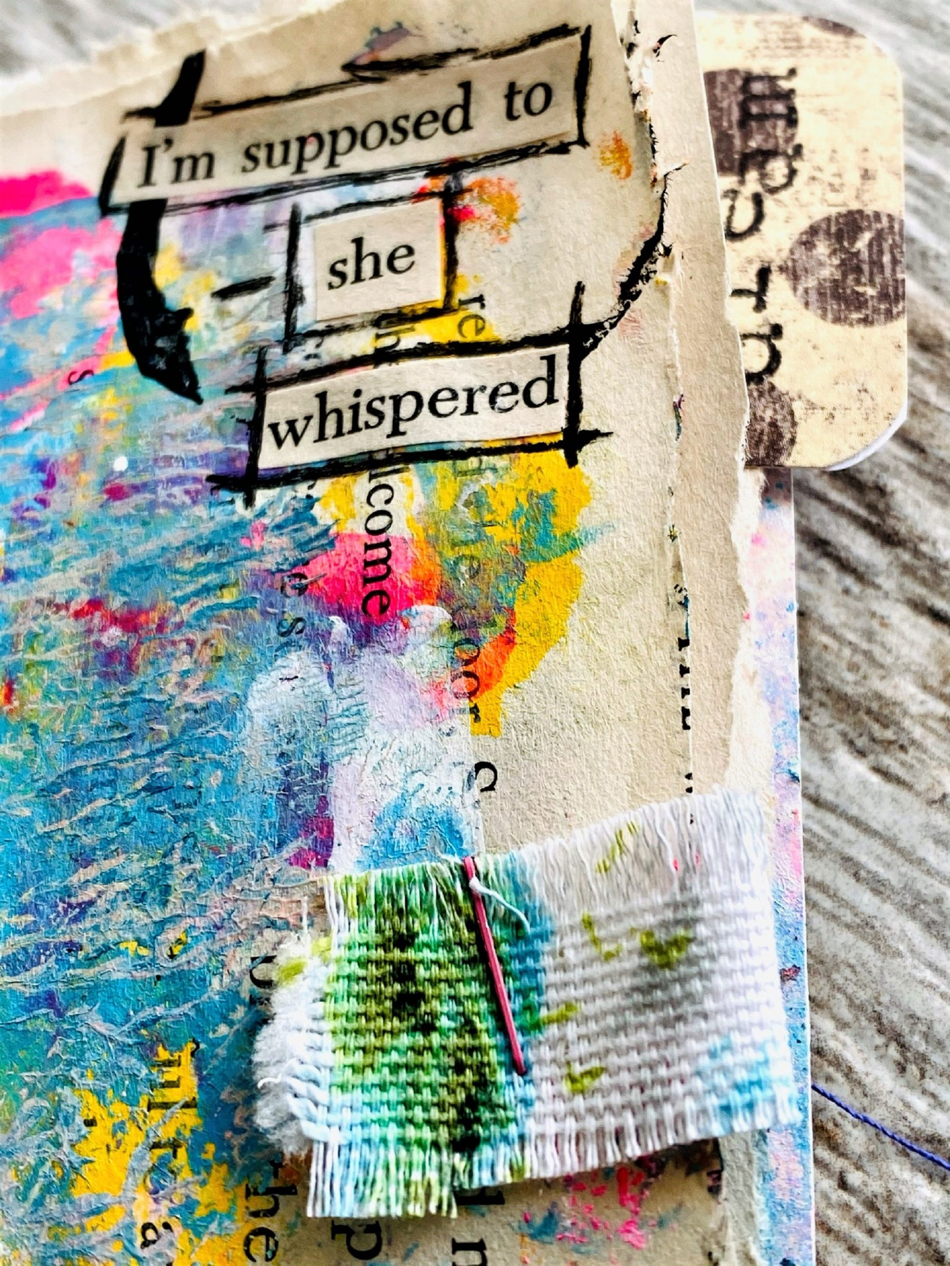 creative journal page with the words SHE WHISPERED