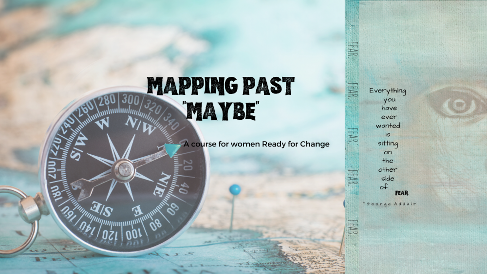 mapping past maybe course ad with a compass and a woman's face