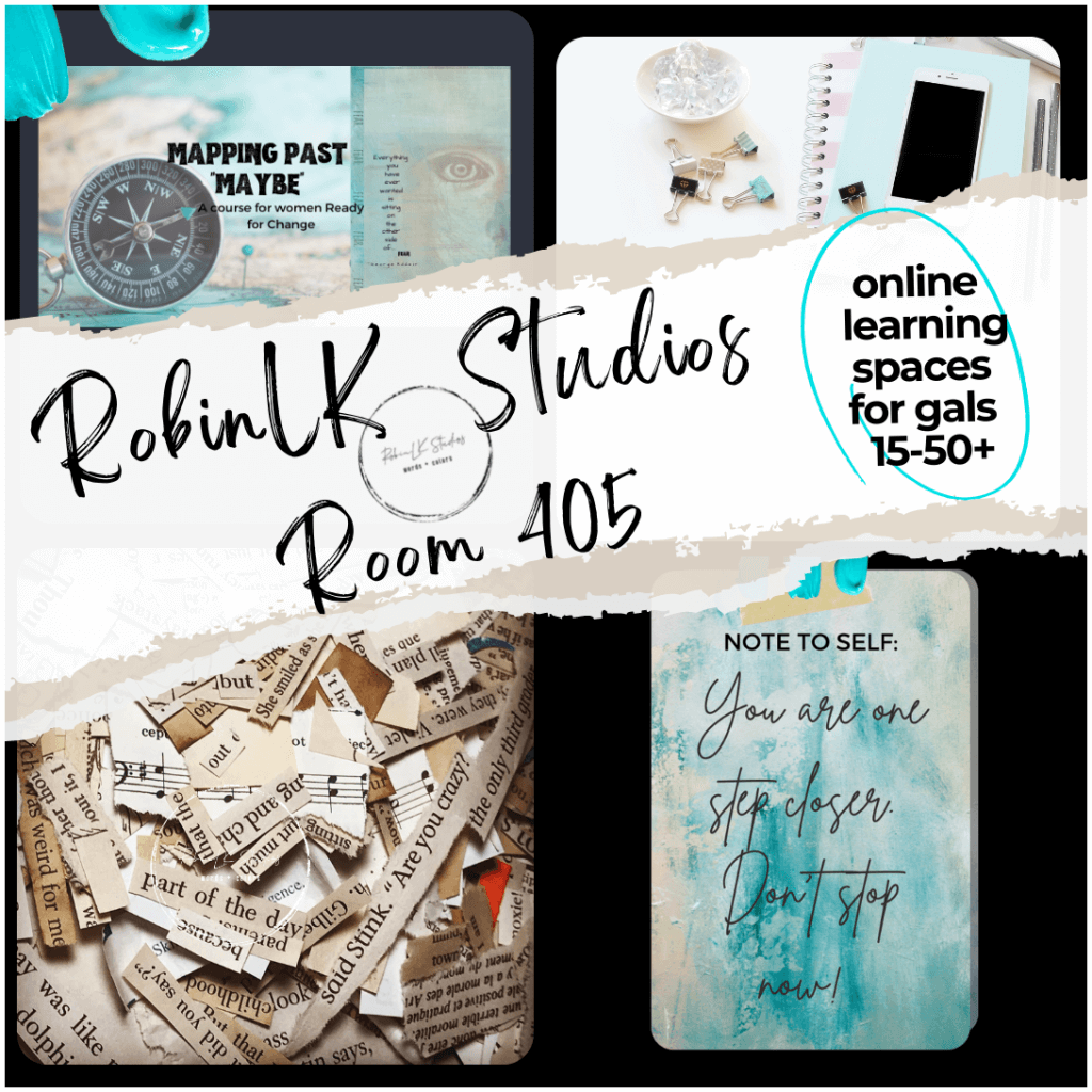 collage image of courses and workshops offered by RobinLK Studios in her online learning spaces and resources for women 15-50+