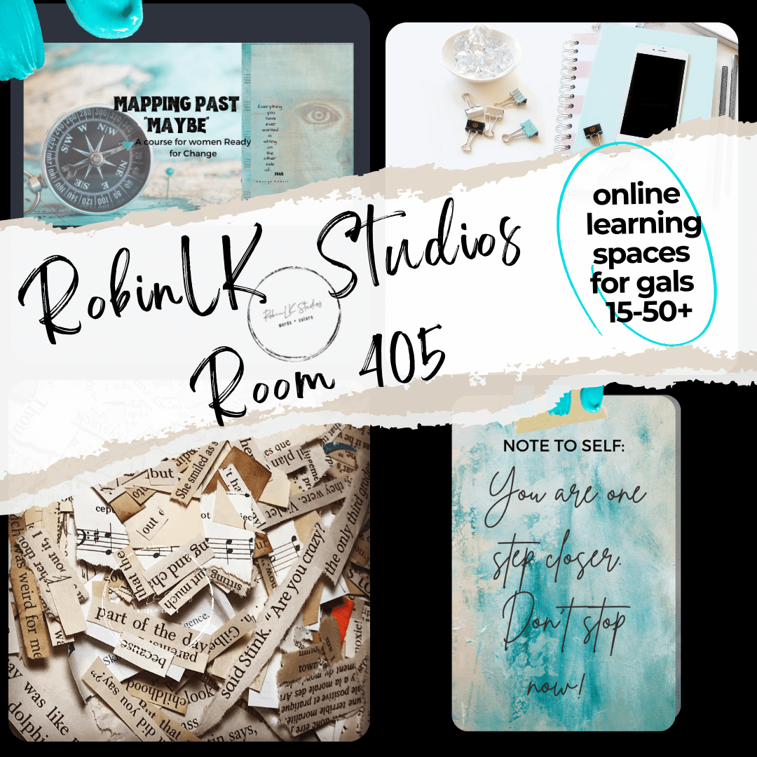 collage image of features in Room 405, RobinLK Studios online learning platform