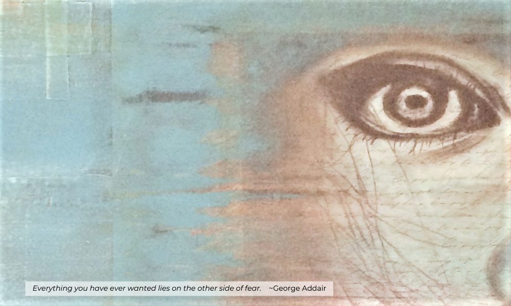 half of a woman's face up close with a quote from George Addair