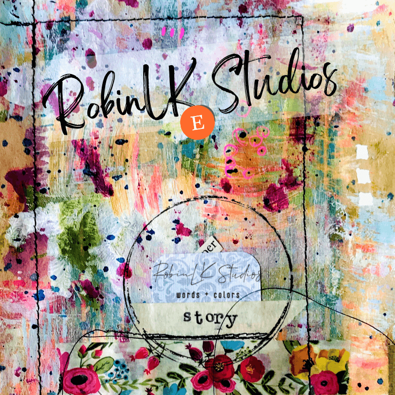 """floral art paper with Etsy logo, the word """"story"""" and shop name RobinLK Studios"""